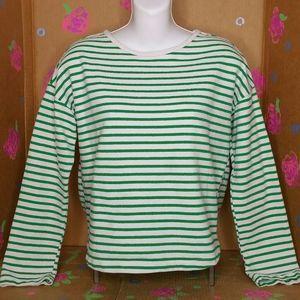 Zara Green & White Striped Long Sleeve Shirt 13/14